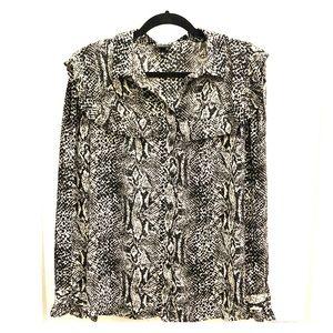Patterned Black & White Blouse